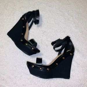 black gold studded wedges